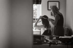Kirstie styling a bride's hair